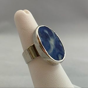 Jewelry - Vintage Pottery Shard & Sterling Ring